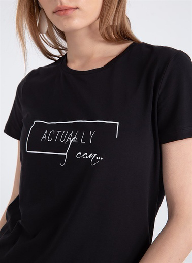 Rue Önü Baskılı Sıfır Yaka T-Shirt Siyah